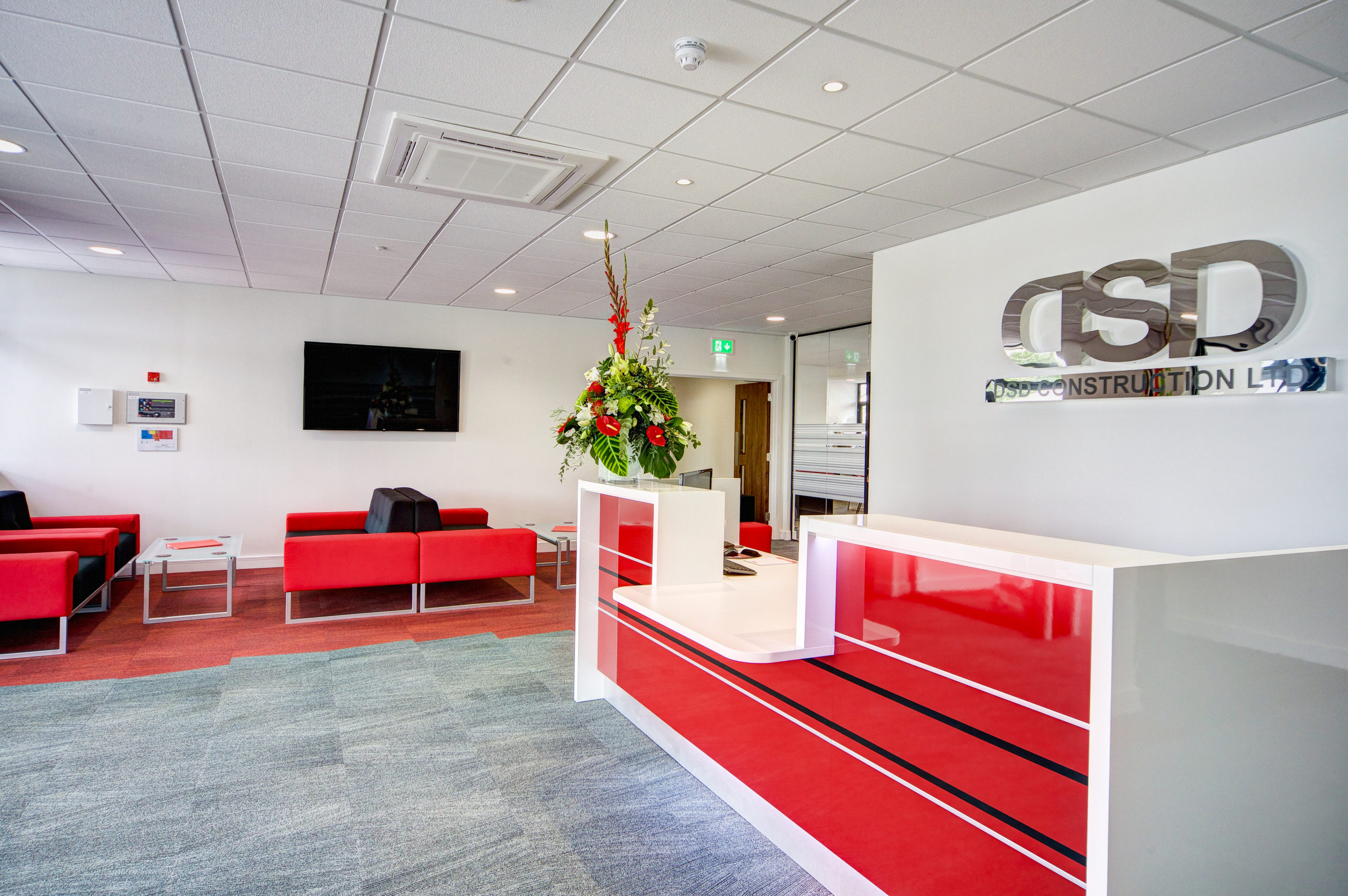 red and black reception area