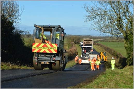 laying fresh road surface